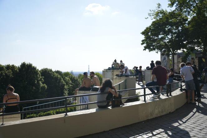 Le belvédère du parc de Belleville, dans le 20e arrondissement de Paris, le 26 mai.