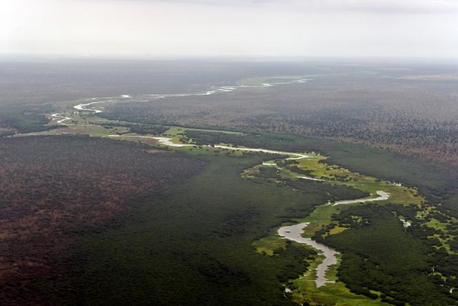 Vue aérienne, prise le 4 février 2020, du fleuve Pibor qui coule entre les parcs nationaux de Boma et de Badingilo, au Soudan du Sud.