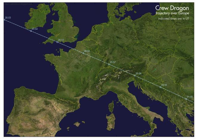 La trajectoire du Crew Dragon au-dessus de l'Europe, le 27 mai. Il faut ajouter 2 heures aux horaires indiqués pour avoir l'heure de Paris.