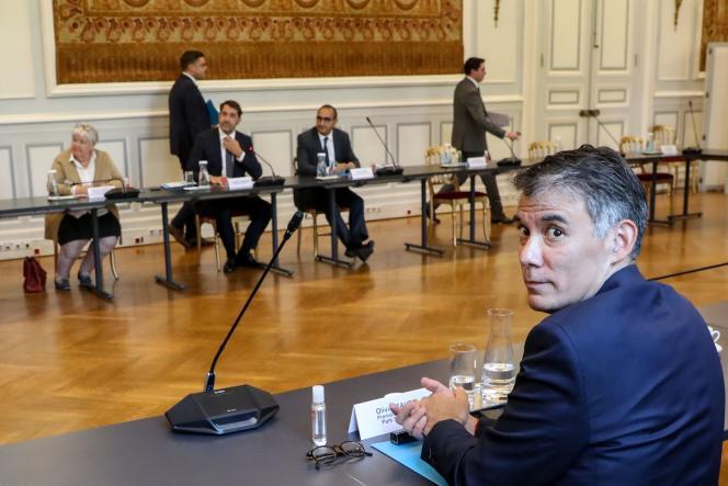 Olivier Faure, premier secrétaire du Parti socialiste, lors d'une réunion sur l'organisation du second tour des élections municipales au ministère de l'intérieur, le 27 mai.