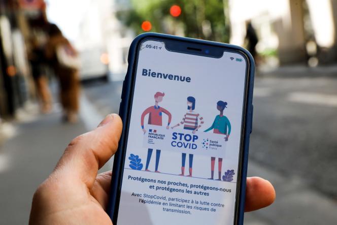 Une capture écran sur un smartphone de ce qui devrait être l'application StopCovid.