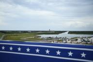 La zone d'observation après que le lancement a été annulé en raison du mauvais temps, au Centre spatial Kennedy, mercredi 27 mai, en Floride.