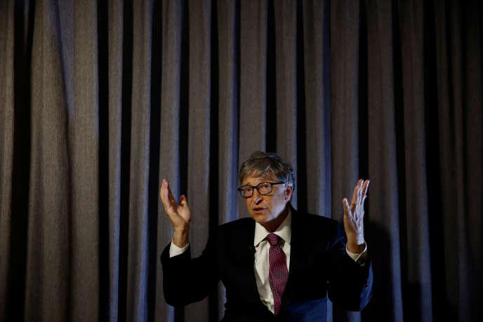 Bill Gates lors d'un salon consacré aux inventions en matière d'installations sanitaires, à Pékin, en 2018.