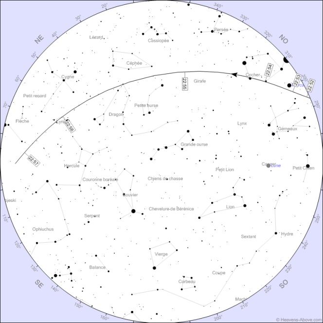 La trajectoire du Crew Dragon dans le ciel de Rennes le 27 mai.