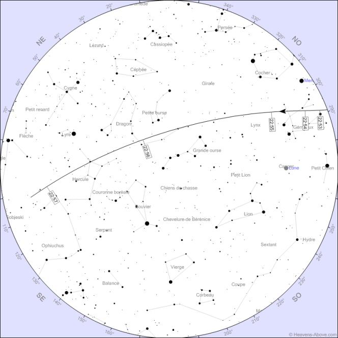 La trajectoire du Crew Dragon dans le ciel de Paris le 27 mai.