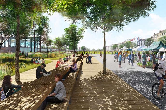 Projet de transformation de la place de la Petite-Hollande à Nantes, aujourd'hui parking à ciel ouvert, en un vaste espace vert.