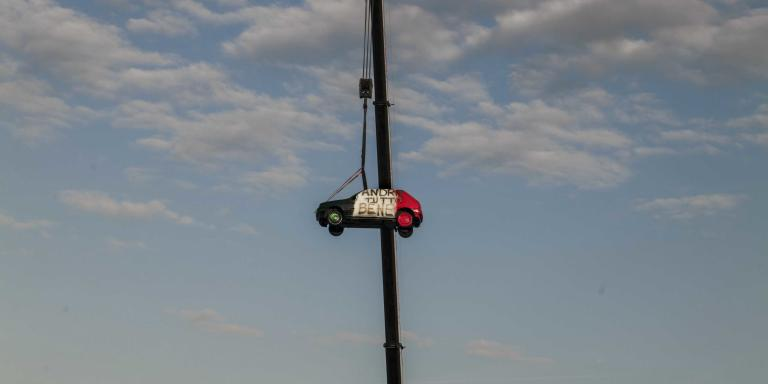 Bergamo.Italia. 03.15.20. A car used as a banner with the write: Andrà tutto bene(everything gonna be all right