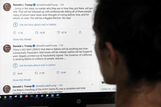 Les messages publiés par Donald Trump sur Twitter, et accompagnés d'une mise en garde du réseau social sur la véracité de l'information,le 26 mai.