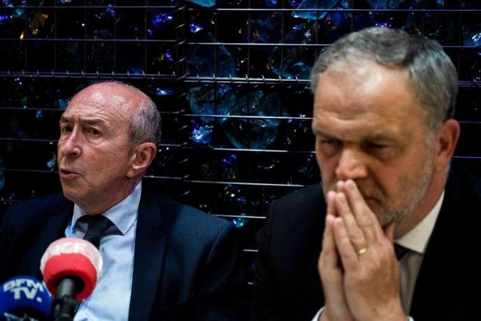 Gérard Collomb et le sénateur Les Républicains (LR) du Rhône François-Noël Buffet, à Lyon, le 28 mai.