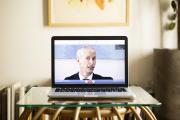 Franck Riester, ministre de la culture, lors d'un entretien par vidéoconférence, le 16 avril 2020.