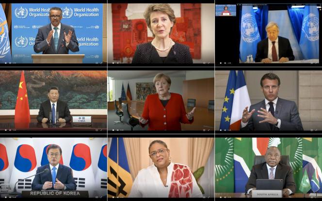 Antonio Guterres (ONU), Xi Jinping, et Angela Merkel, entre autres, le 18 mai, lors de l'Assemblée mondiale de la santé.