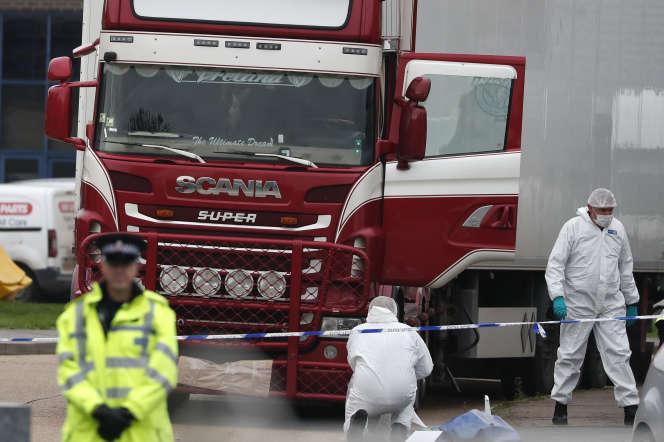 Le camion frigorique où ont été decouvert 39 personnes vietnamienne amenées illégalement au Royaume Uni, à Grays, en octobre2019.