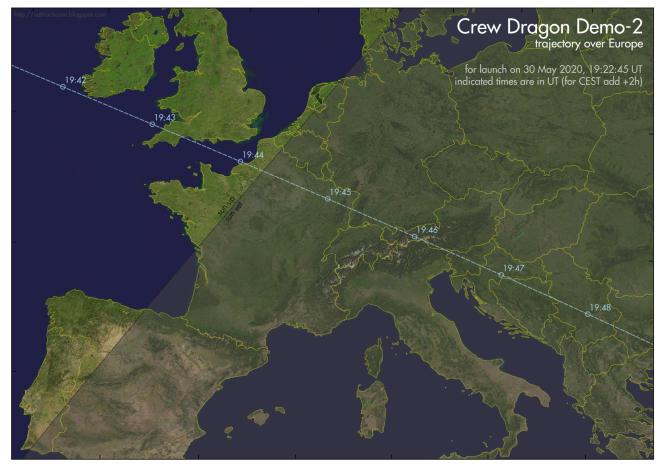 Trajectoire au-dessus de l'Europe de la capsule Crew Dragon lors de sa première orbite. Il faut ajouter 2 heures aux horaires indiqués pour avoir l'heure française.