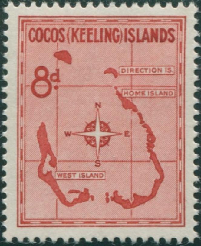 Un des timbres des Cocos de la première série de 1963.