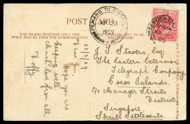 Carte postale de 1909, transcription d'un pessage télégraphique faisant référence aux îles Cocos, en vente chez Abacus, en Australie, 650 dollars australiens (environ 390 euros).