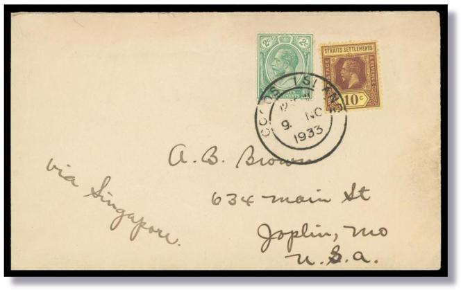 Lettre de 1933 revêtue de timbres des« Straits Settlements» au départ des îles Cocos, en vente chez le marchand australien Glen Stephens, pour quelques dizaines d'euros.