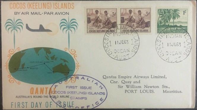 Enveloppe avec timbres de la première émission« officielle» des îles Cocos (Keeling), en 1963, 24 dollars chez Hipstamps (Etats-Unis).