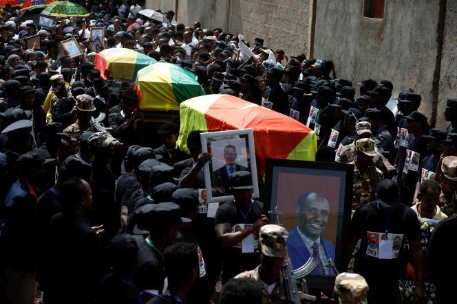 Funérailles de trois fonctionnaires, tués lors d'une attaque, dans la ville de Bahir Dar, région d'Amhara, le 26 juin 2019.
