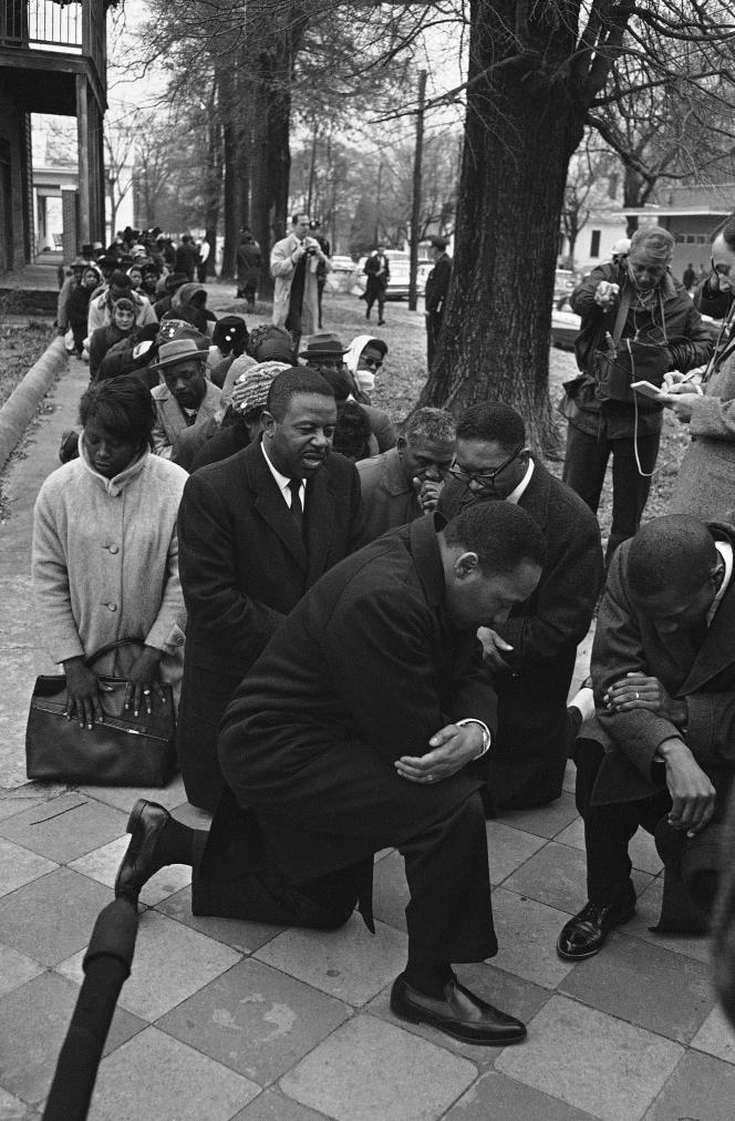 Martin Luther King, lors d'une marche pour les droits civiques à Selma, le 1er février 1965.