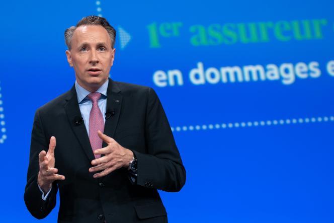 Thomas Buberl, directeur général d'Axa, lors de l'assemblée générale du groupe d'assurance français, à Paris, le 24 avril 2019.