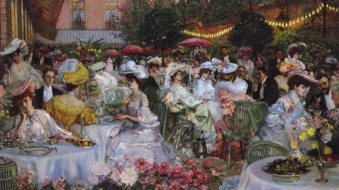 Tableau représentant les jardins du Ritz, à Lucerne (Suisse) dans les années 1870.