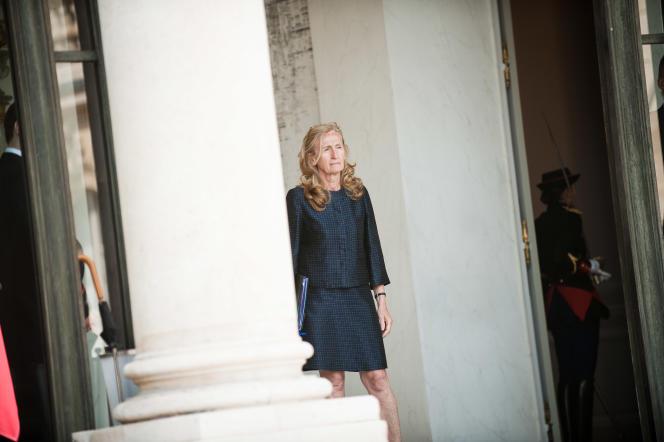 La ministre de la justice, Nicole Belloubet, à la sortie du conseil des ministres du 3 juin au palais de l'Elysée.