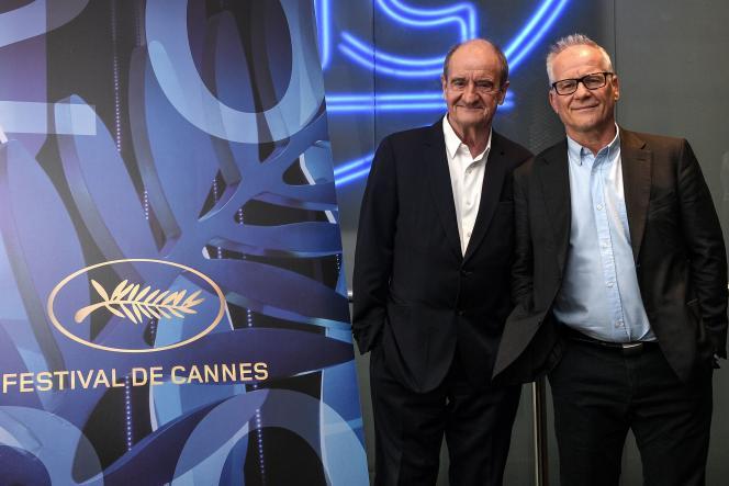 Pierre Lescure et Thierry Frémaux, respectivement président et délégué général du Festival de Cannes, lors de la présentation de la Sélection officielle pour l'édition 2020, à Paris, le 3 juin.