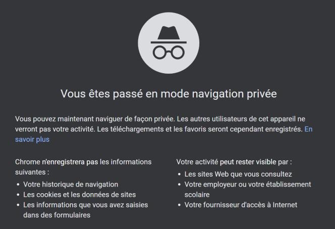 Chrome affiche cette page d'avertissement lorsqu'on active le mode navigation privée.