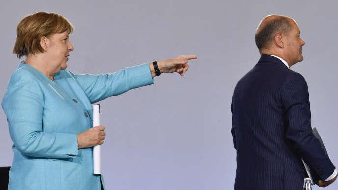 Angela Merkel et le vice-chancelier et ministre des finances, Olaf Scholz, à Berlin, mercredi 3 juin.