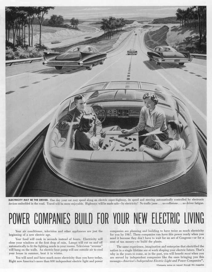 «Dans les années 1930, les couvertures des magazines américains de science populaire montrent déjà des familles heureuses filant dans des voitures sans pilote»(Illustration: véhicule électrique autonome, 1956).
