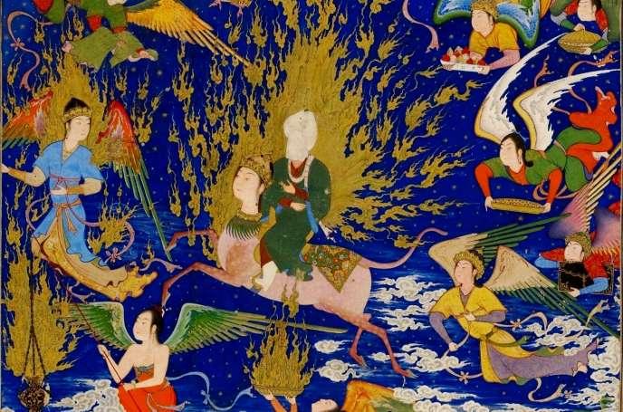 «Le Voyage nocturne (Miraj) du Prophète,chevauchant le cheval Bouraq, entouré d'anges», miniature issue du «Khamsé», de Nizami, attribué au Perse Sultan Muhammad (XVIesiècle).