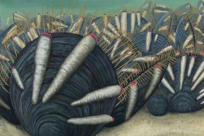 Vue d'artiste d'une colonie de brachiopodes parasités par des organismes en forme de tube.