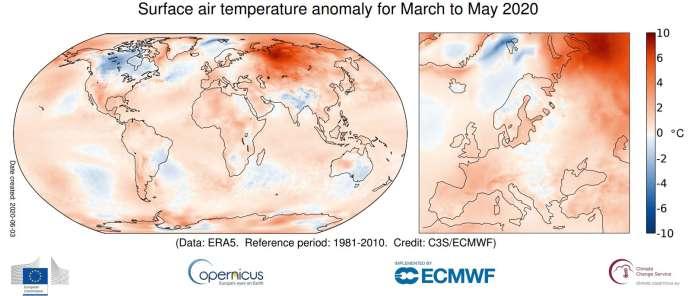 En mai, les températures les plus élevées par rapport à la normale, et même « très anormales », ont été relevées en Sibérie, avec près de 10 °C au-dessus de la normale.