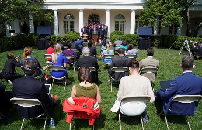 Donald Trump, devant les journalistes, lors d'une conférence de presse dans la roseraie de la Maison Blanche, à Washington, le 5 juin.