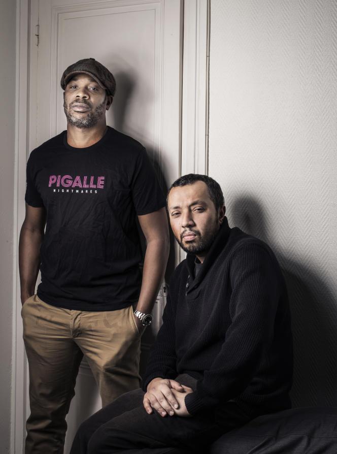 Ekoué Labitey et Hamé Bourokba, membres du groupe de rap La Rumeur et réalisateurs français, en janvier 2017.
