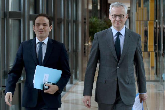 Bruno Le Maire et Cedric O, à Bercy, en janvier 2020.