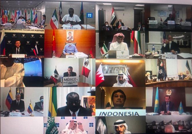 Capture d'écran de la réunion de l'OPEP+, le 6 juin.