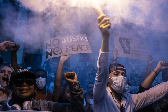 Lors de la manifestation contre le racisme et les violences policières à Marseille, le 6juin.