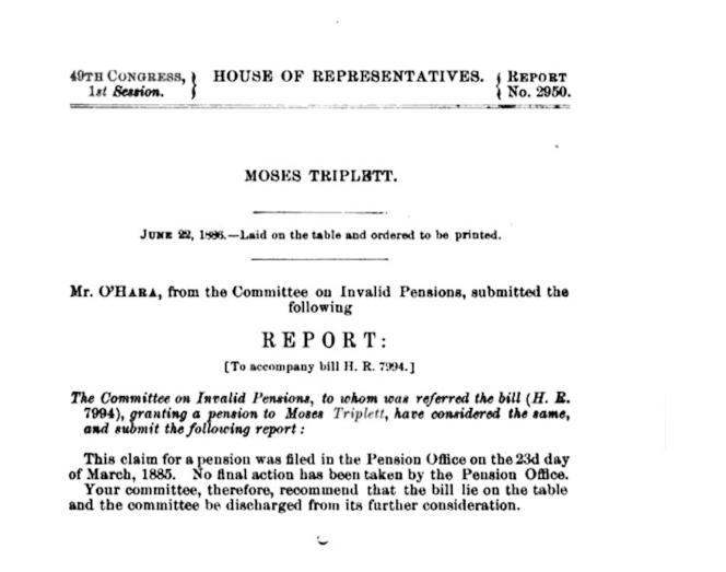 En 1886, Moses Triplett obtient une pension d'invalidité, dont bénéficiera sa fille Irene, jusqu'à la fin de sa vie.