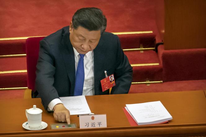Le dirigeant chinois Xi Jinping lors du vote su la sécurité nationale pour Hongkong, le 28 mai au Palais du peuple, à Pékin.