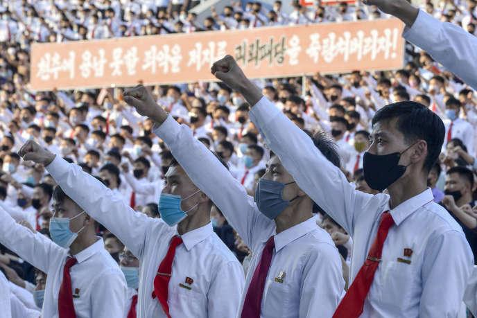 Des étudiants protestent contre la Corée du Sud, à Pyongyang, en Corée du Nord, le 6juin.
