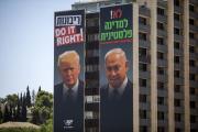 Portraits de Donald Trump et Benyamin Nétanyahou, à Jérusalem, le 10 juin.