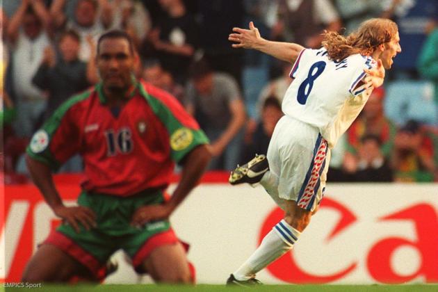 Le Tchèque Karel Poborsky, le 23 juin 1996, après son but contre le Portugal, à Birmingham (Angleterre).