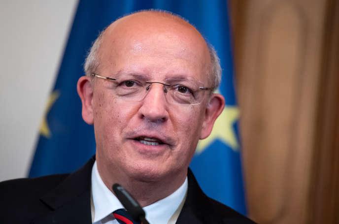 Augusto Santos Silva,ministre portugais des affaires étrangères, lors d'une conférence de presse après une réunion avec des homologues européens,à Berlin, le 22 mai 2019.