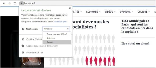 Désactiver les notifications web du site Internet Le Monde sur votre ordinateur.