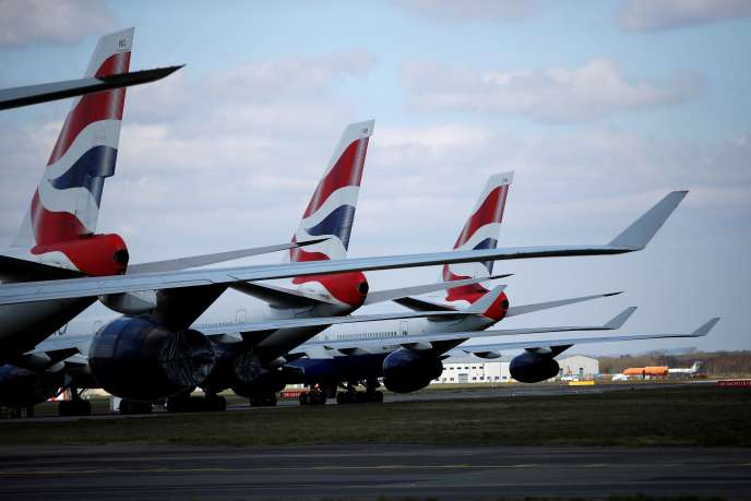 Des avions de la compagnie British Airways stationnés à l'aéroport de Bournemouth, au Royaume-Uni, le 1er avril.