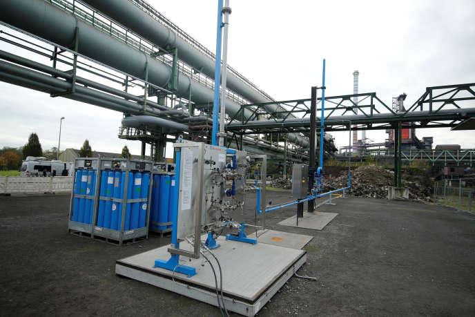 Air Liquide teste à Duisbourg (Rhénanie-du-Nord-Westphalie) un système d'alimentation basé sur l'hydrogène de hauts fourneaux d'une aciérie, en novembre 2019.