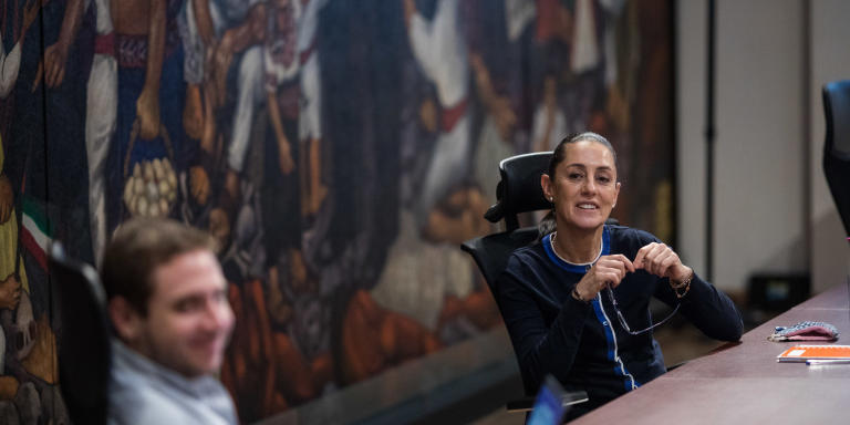 June 10, 2020 - Dr. Claudia Sheinbaum, the mayor of Mexico City holds a meeting about COVID-19. The mural by Ariosto Otero is called