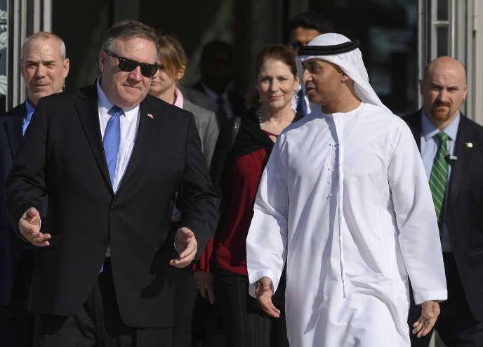 US Secretary of State Mike Pompeo (left) with the Emirati Ambassador to the United States, Yousef Al-Otaiba, on January 13, 2019 in Abu Dhabi.