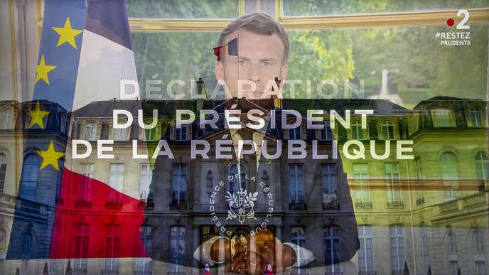 Emmanuel Macron, président de la république, s'exprime sur la fin du déconfinement  suite à la pandémie de Covid-19. Paris le 14 juin 2020 - 2020©Jean-Claude Coutausse pour Le Monde